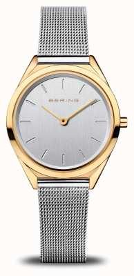 Bering Women's Ultra Slim | Silver Mesh Bracelet | Polished Gold 17031-010