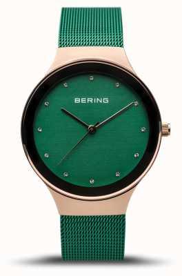 Bering Women's Classic | Polished Rose Gold | Green Mesh Strap | 12934-868