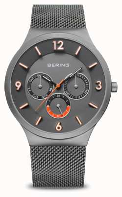 Bering Men's Classic | Brushed Grey | Grey Mesh Strap | 33441-377