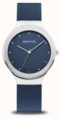 Bering Women's Classic | Polished Silver | Blue Mesh Strap 12934-307