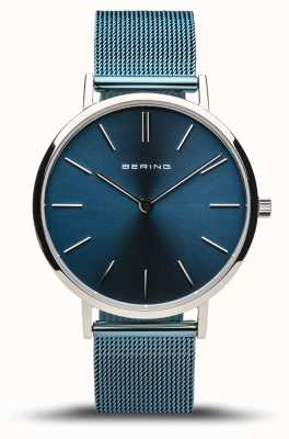 Bering Women's Classic | Polished Silver | Blue Mesh Bracelet 14134-308