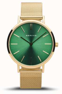 Bering Women's Classic | Polished Gold | Green Dial | Gold Mesh 14134-338