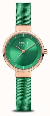 Bering Women's Charity | Polished/Brushed Rose | Green Mesh Strap 14627-CHARITY