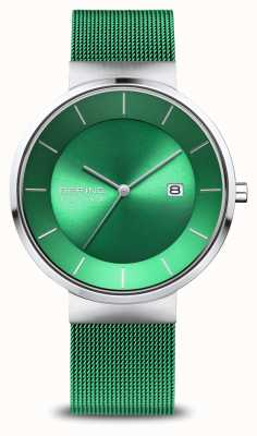 Bering Men's Charity | Polished/Brushed Rose | Green Mesh Strap 14639-CHARITY