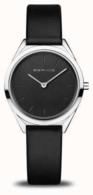 Bering Women's Ultra-Slim | Polished Silver | Black Leather Strap 17031-402