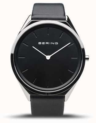 Bering Ultra-Slim | Polished Silver | Black Leather Strap 17039-402