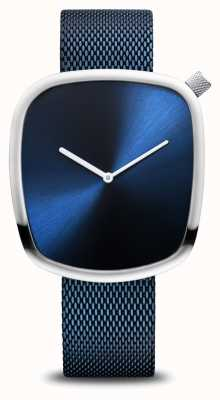 Bering Classic| Pebble | Brushed Blue | Square Dial | Blue Mesh 18040-307