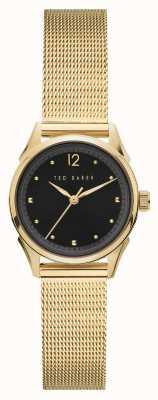 Ted Baker | Women's | Luchiaa | Gold Steel Mesh Bracelet | Black Dial | BKPLUF904