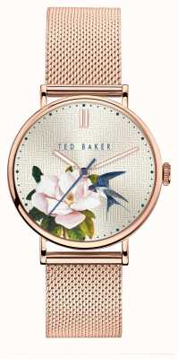 Ted Baker Women's Phylipa Flowers | Rose Gold Mesh |Floral Silver Dial BKPPFF901