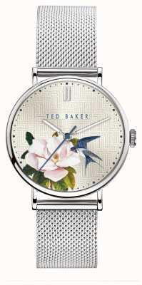 Ted Baker | Women's | Phylipa Flowers | Silver Mesh | Silver Floral Dial | BKPPFF902