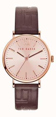 Ted Baker | Women's | Phylipa | Brown Leather Strap | Rose Gold Dial | BKPPHF915