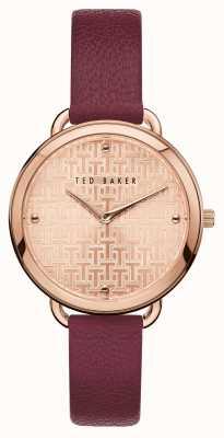 Ted Baker | Women's | Hettie | Burgundy Leather Strap | Rose Gold Dial | BKPHTF903