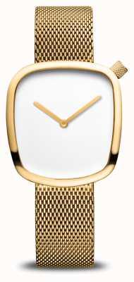 Bering Classic | Pebble | Gold Mesh Bracelet | White Dial 18034-364
