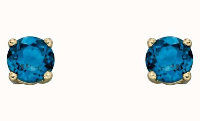 Elements Gold 9ct Yellow Gold London Blue Topaz Cz December Birthstone Studs GE2337