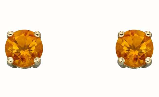 Elements Gold 9ct Yellow Gold Citrine Cz November Studs GE2336