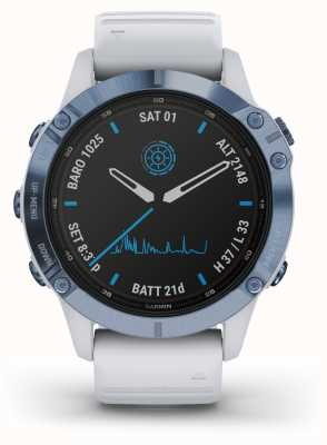 Garmin Fenix 6 Pro Solar   Titanium Mineral Blue White Rubber Strap 010-02410-19