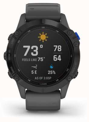 Garmin Fenix 6 Pro Solar | Black With Slate Grey Rubber Strap 010-02410-11
