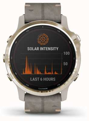 Garmin Fenix 6S Pro Solar | Light Gold Shale Grey Rubber Strap 010-02409-26