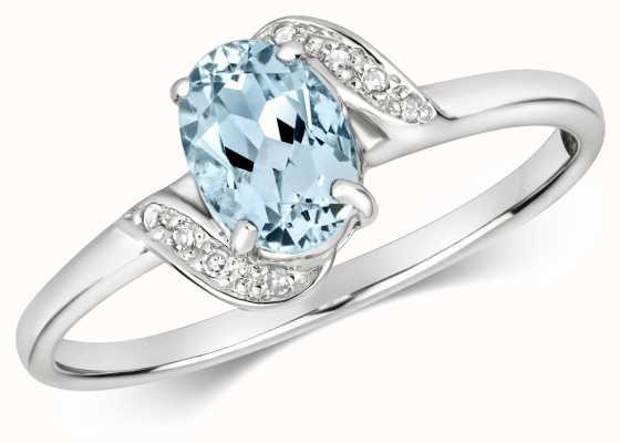 Treasure House 9ct White Gold Diamond & Oval Aquamarine Ring RD476WAQ