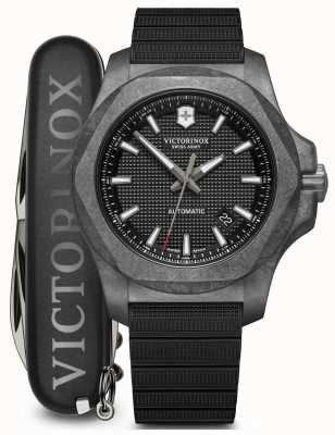 Victorinox Swiss Army INOX Set | Carbon | Automatic | Black Rubber Strap 241866.1