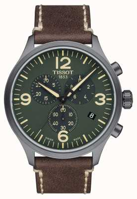 Tissot Chrono XL | Green Dial | Brown Leather Strap T1166173609700