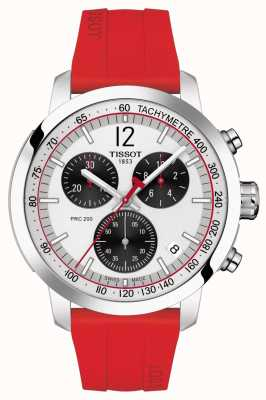 Tissot PRC 200 | Chronograph | Silver Dial | Red Rubber Strap T1144171703702