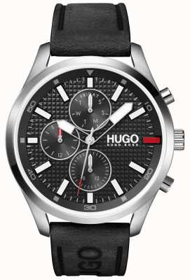 HUGO Men's #CHASE | Black Dial | Black Leather Strap Watch 1530161