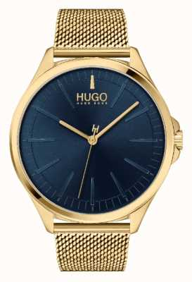 HUGO Men's #SMASH Casual | Blue Dial | Gold IP Mesh Bracelet 1530178