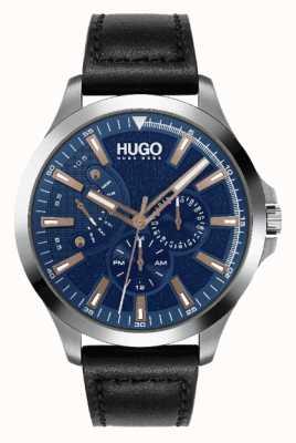 HUGO Men's #LEAP | Blue Dial | Rose-gold Accent | Black Leather Strap Watch 1530172
