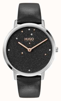 HUGO Ladies #DREAM Business | Black Swarovski Dial | Black Leather Strap 1540068