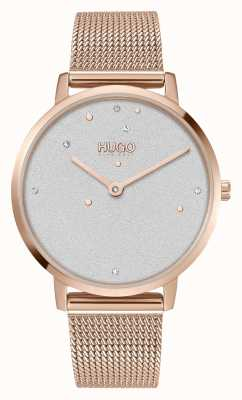HUGO #DREAM | Women's | Rose Gold Mesh Bracelet | Crystal Set Dial 1540067