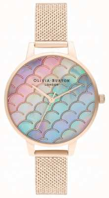 Olivia Burton Mermaid Tail Demi Dial Rose Gold Boucle Mesh Watch OB16US45