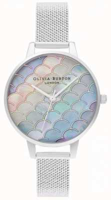 Olivia Burton Mermaid Tail Demi Dial Silver Boucle Mesh Watch OB16US46