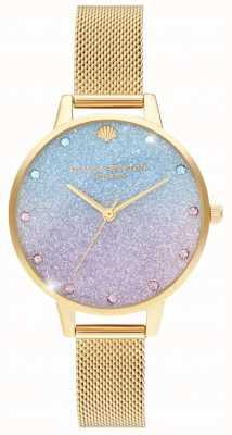Olivia Burton Glitter Ombre Demi Dial Sparkle Markers Gold Mesh OB16US48