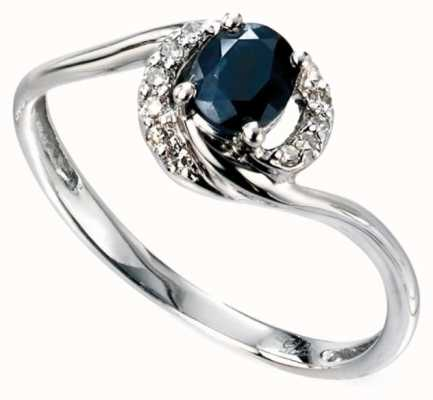Elements Gold 9ct White Gold Sapphire And Diamond Twisted Ring GR468L