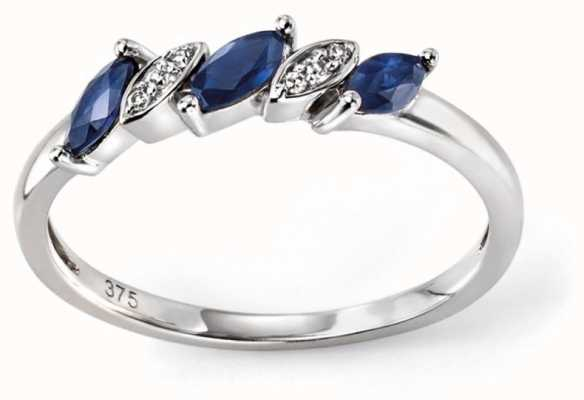 Elements Gold 9ct White Gold Sapphire And Diamond Marquise Ring Size EU 54 (UK N) GR502L 54