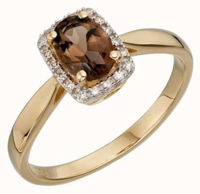 Elements Gold 9ct Yellow Gold And Diamond Smoky Quartz Ring Size EU 58 (UK Q 1/2) GR533Y 58