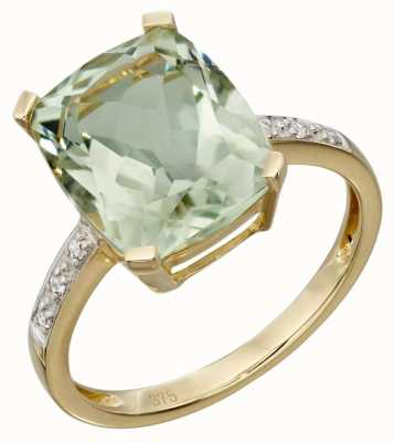 Elements Gold 9ct Yellow Gold Green Amethyst And Diamond Cocktail Ring Size EU 52 (UK L 1/2) GR543G 52