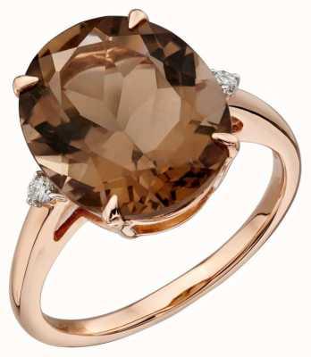 Elements Gold 9ct Rose Gold Smokey Quartz Diamond Set Ring Size EU 56 (UK O 1/2 - P) GR559Y 56