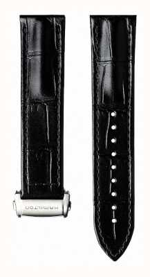Hamilton Black Calf Leather 22mm Strap Only Folding Clasp- Jazzmaster H600425103