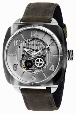 Briston Streamliner Skeleton Auto | Grey Acetate | Charcoal Leather 201042.SA.G.2.B