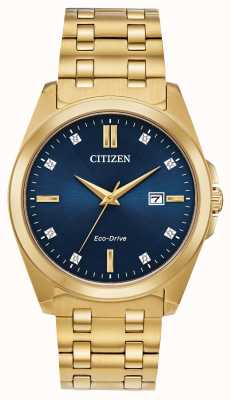 Citizen Men's Corso Eco-Drive Diamond Gold IP Blue Dial Watch BM7103-51L