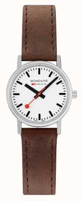Mondaine Classic 30 Mm | Brown Leather Strap | White Dial A658.30323.11SBG