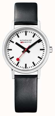 Mondaine Classic 30 Mm | Black Leather Strap | White Dial A658.30323.11SBB