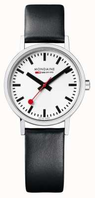 Mondaine Classic 30 Mm | Black Leather Strap | White Dial A658.30323.16SBB