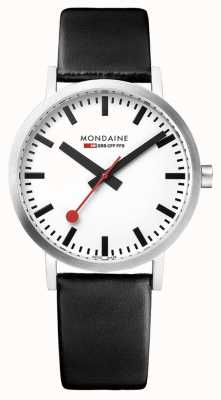 Mondaine Men's Classic 36 mm | Black Leather Strap | White Dial Watch A660.30314.11SBB