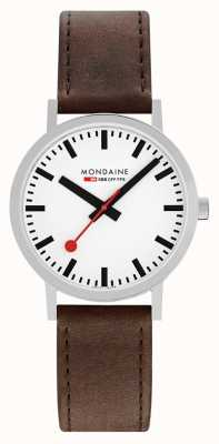 Mondaine Classic 40 Mm | Brown Leather Strap | White Dial A660.30360.11SBG