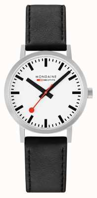 Mondaine Classic 40 Mm | Black Leather Strap | White Dial A660.30360.16SBB