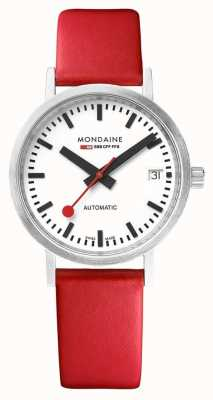 Mondaine Classic Automatic Date 33 Mm | Red Leather Strap A128.30008.16SBC