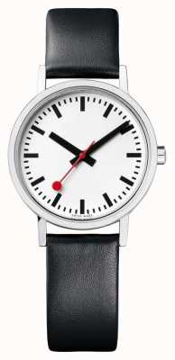 Mondaine Classic Pure 30 Mm | Black Leather Strap | White Dial A658.30323.16OM